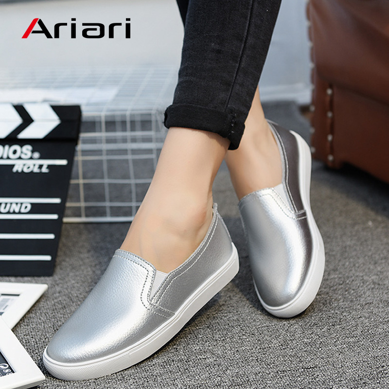 Ariari Spring Flats Women Shoes Shiny Loafers Genuine Leather Casual Slip On Footwear Female Lazy Shoes Fashion Loafers Lady
