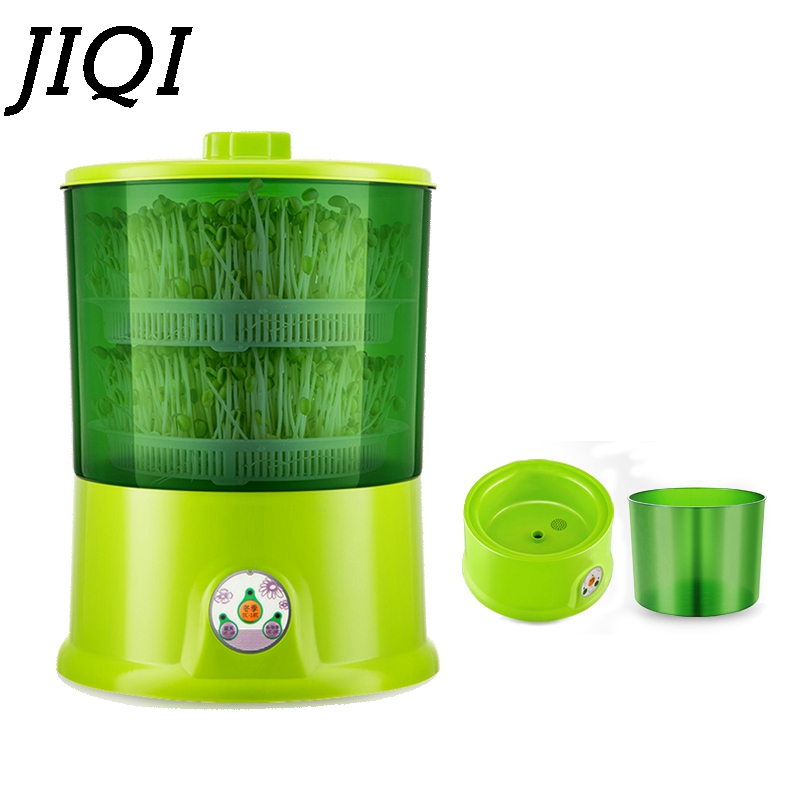 JIQI DIY Bean Sprouts Maker 2/3 Layer Thermostat Green Seed Vegetable Growing Germinator Automatic Bean Sprout Seedling Machine