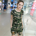 two piece set 2016 new fashion camouflage Military Field operations motion 2 piece set women harajuku shorts t shirt women