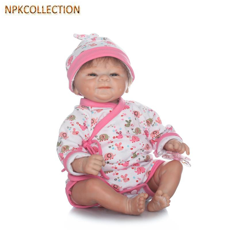 NPKCOLLECTION Real Dolls Reborn Baby Born Doll with Clothes Pacifier,37CM Silicone Dolls Reborn Babies Soft Toy Girl XMAS Gift npkcollection fashion reborn baby doll 22 with free pacifier safe soft silicone model baby reborn with clothes kits xmas gifts