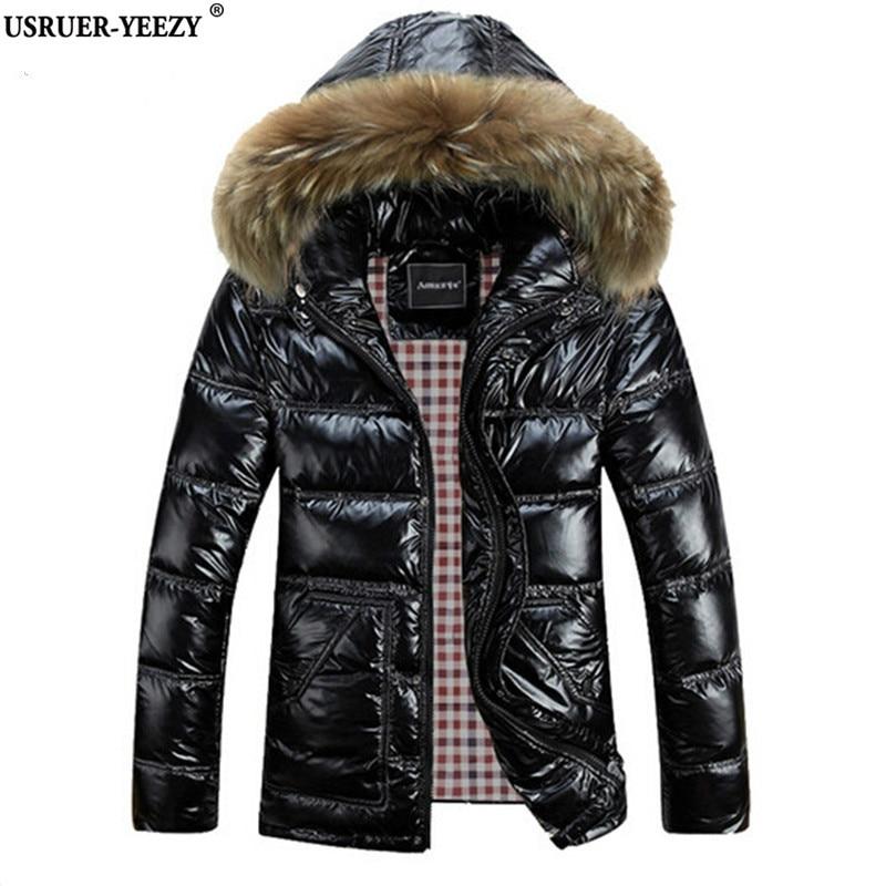 USRUER-YEEZY M-8XL Winter Men Down Jackets Brand Clothing Men's White Duck Hooded Jacket Thick Jaqueta Masculina Inverno Casacos