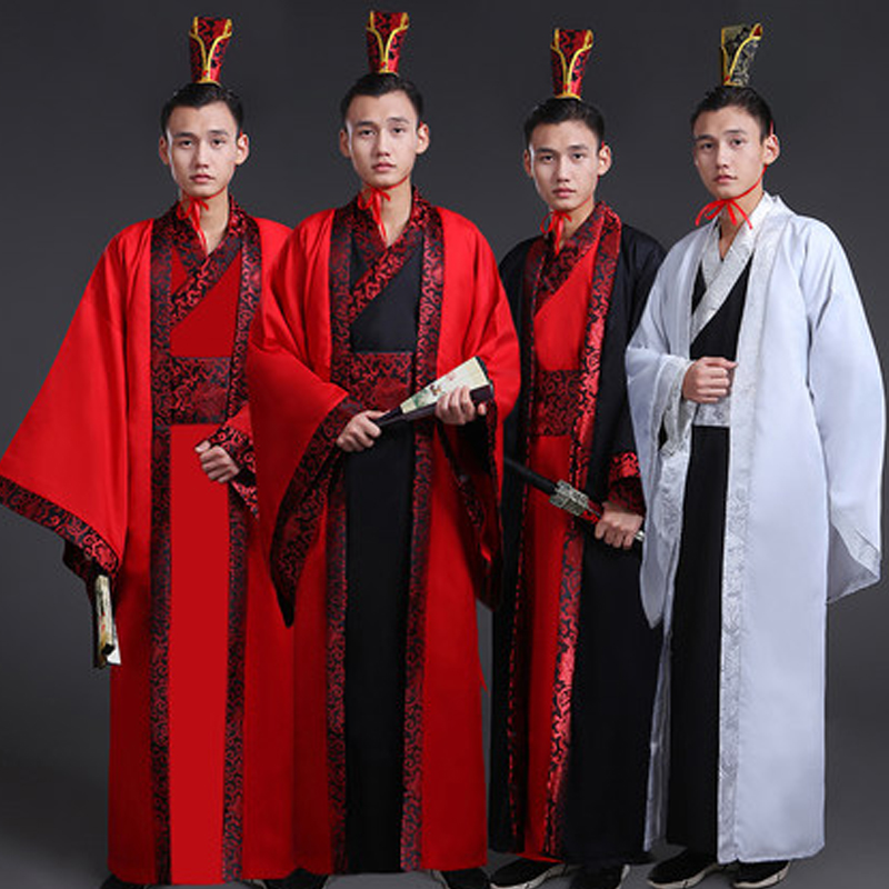 2018 Ancient Chinese Costume Men Traditional Chinese Dance Clothing Long Sleeve Hanfu Satin Robe Dress Boy Qing Dynasty DN2104