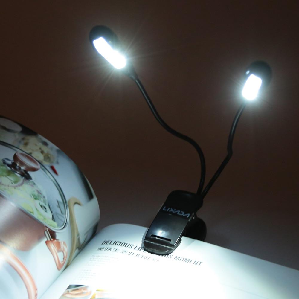 8 LED Book Reading Table Lamp Super Bright Dual Flexible Double Goosenecks  Clip On Arm