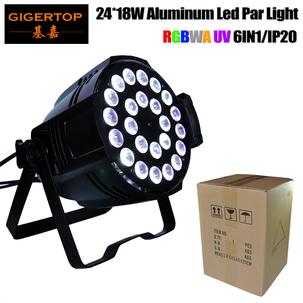 Gigertop TP P66 24x18W RGBWA UV 6IN1 Aluminum Stage Led Par Light Silent Fan Cooling 25