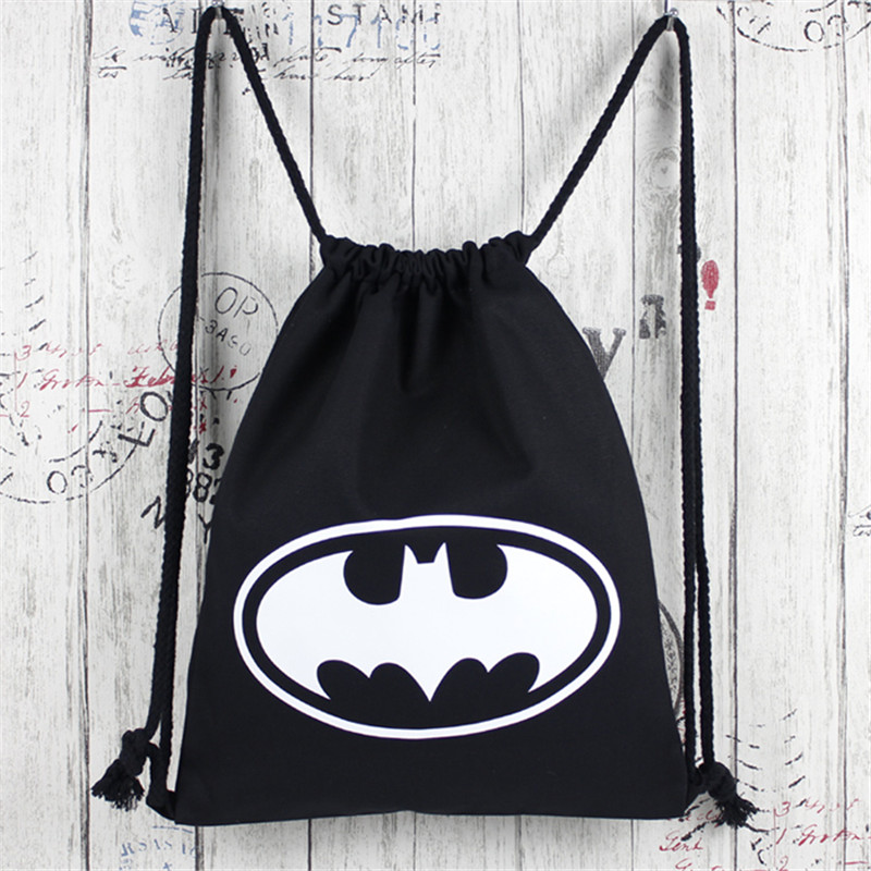 2017 New Fashion Anime Batman Bags Women Boys Girls School Bags Gift Bookbag For Kids Canvas Drawstring Bags Multicolor Backpack sosw fashion anime theme death note cosplay notebook new school large writing journal 20 5cm 14 5cm