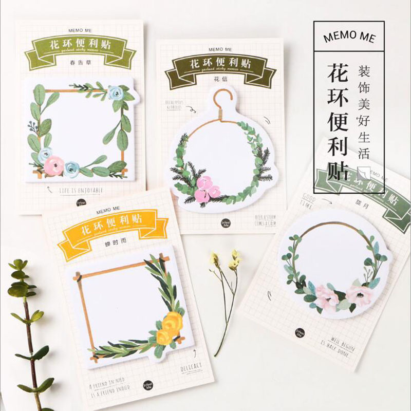 2 pcs Wreath Message Notes Notes Stickers Office Learning Stationery Can Be Free To Post Your Diary And Album