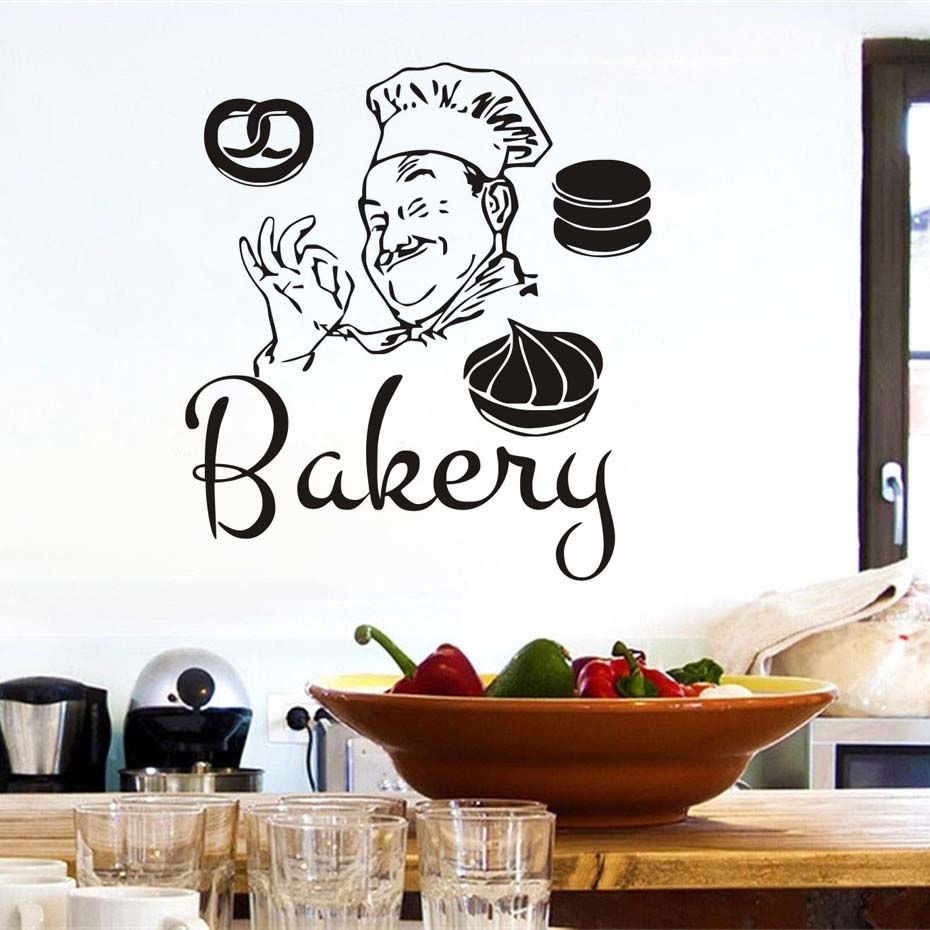 Diy funny bakery chef wall stickers waterproof bathroom kitchen diy funny bakery chef wall stickers waterproof bathroom kitchen coffee shop decoration cakes decals wallpapers quotes home decor in hair clips pins from amipublicfo Images