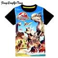 Mundo Jurásico dinosaurio de los niños camiseta de los muchachos del verano 3-9ages bebé infantil chicos tops tee camisetas para niños ropa de niño prendas de vestir