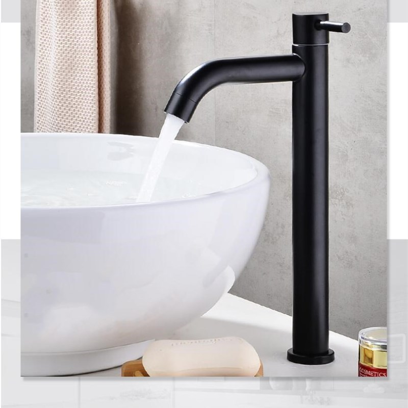 Black 304 stainless steel material single cold bathroom sink faucet handle basin faucet