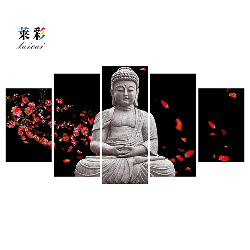 No framed 5 Piece Canvas Printing Art Modern Printed Buddha Painting Picture Buddha Paintings Wall Canvas For Living Room Print(China (Mainland))