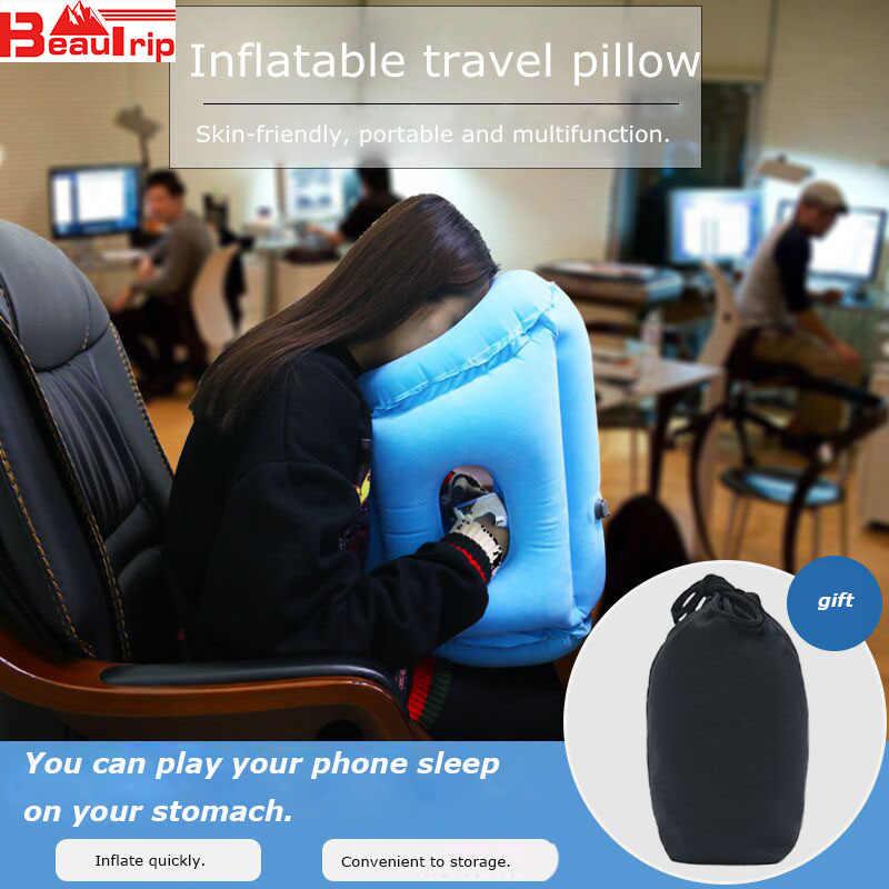 Almohada de aire mejorada cojín de cuello inflable soporte de cabeza de viaje cojines para avión Avión de oficina de coche almohadas de siesta Envío Directo