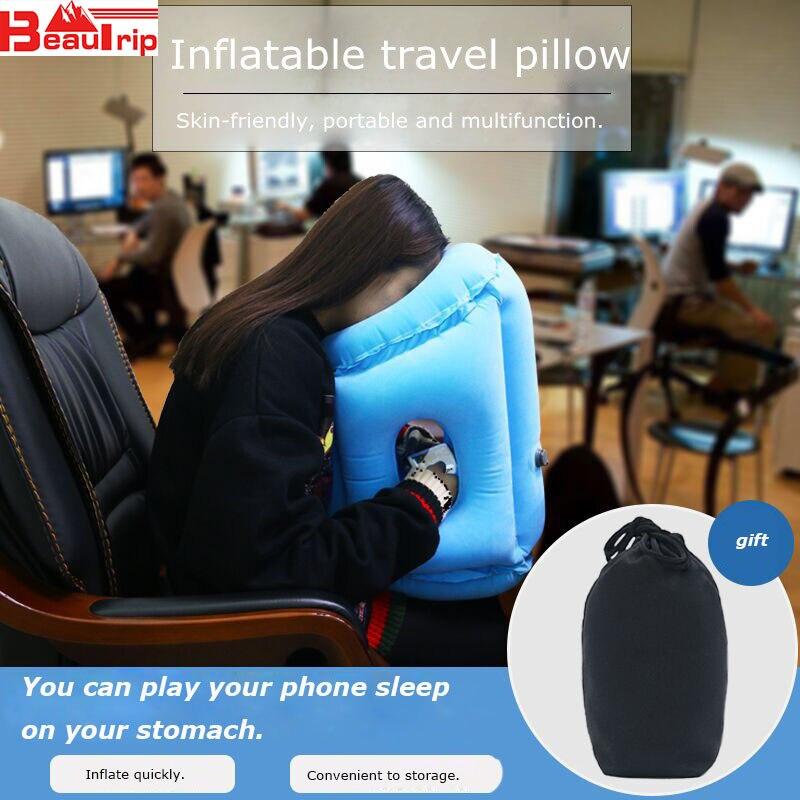 Verbesserte Air Kissen Aufblasbare Neck Kissen Kopf Unterstützung Reise Kissen für Flugzeug Flugzeug Auto Büro Nickerchen Kissen Drop Verschiffen