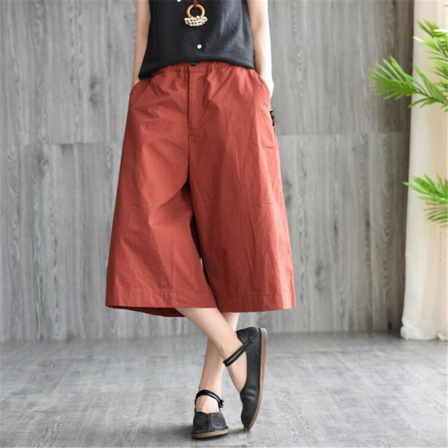 2019 Casual Cotton Linen Wide Leg   Pants   Women Summer Elastic Waist Pockets   Pants     Capris   Female Vintage Loose Trousers Ds50515