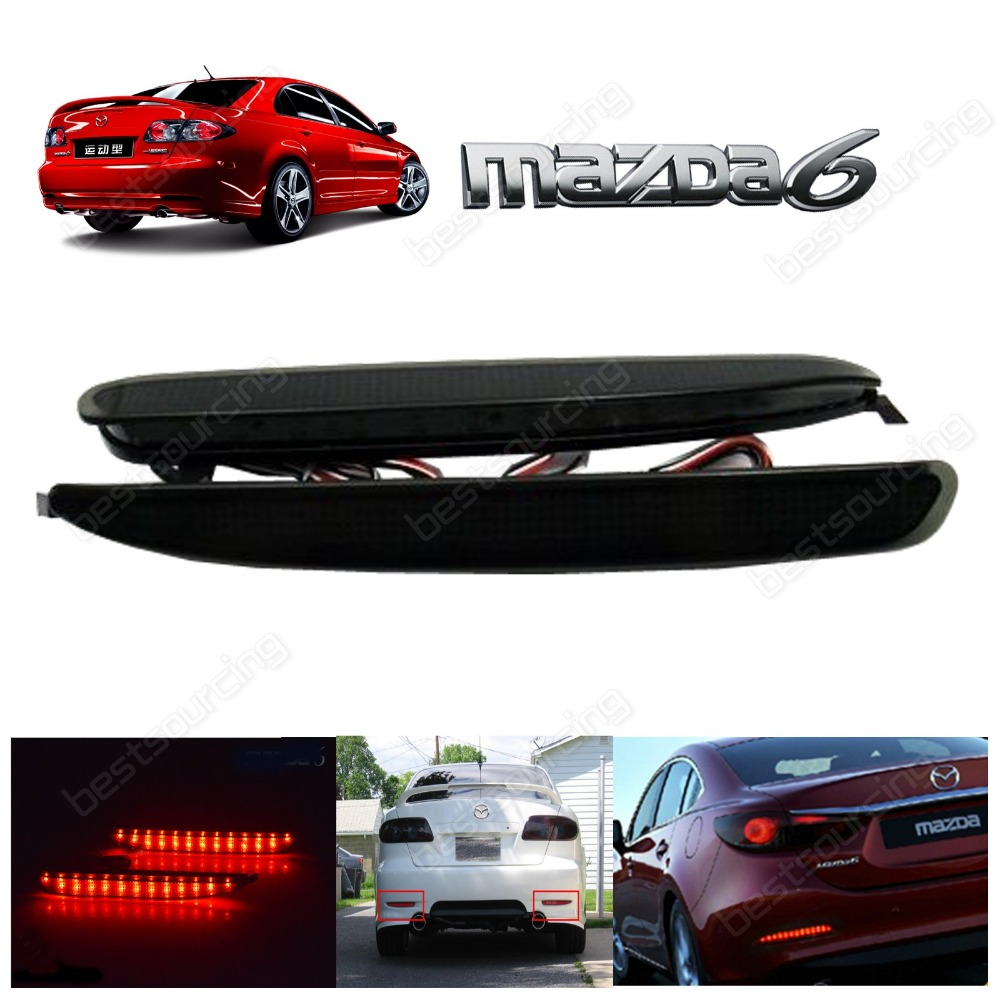 2x black Rear Bumper Reflector LED Brake Stop Light GG 2003-2008 Mazda 6 Atenza Mazda6(CA171)