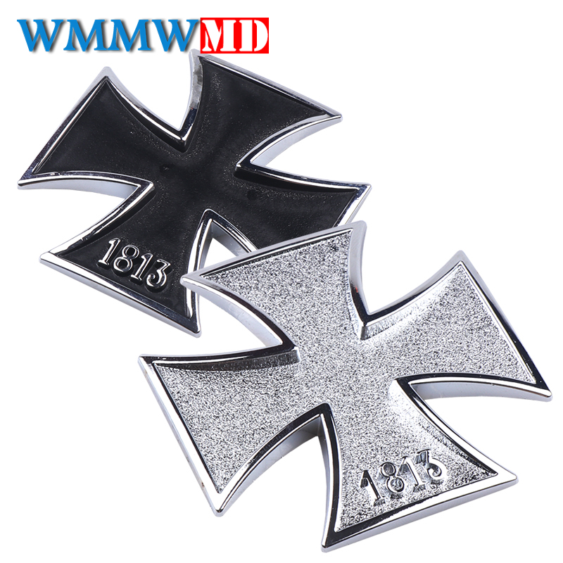 3D Chrome Metal Germany 1813 Malta Virtue Symbol Medal Cross Emblem Motorcycle Car Styling Badge Stickers Decal Auto Accessories