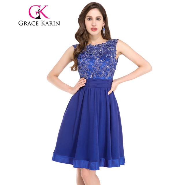6d5ee757f5d5b Grace Karin Short Prom Dress 2017 Backless Lace Chiffon Royal Blue Formal Party  Gowns Knee Length