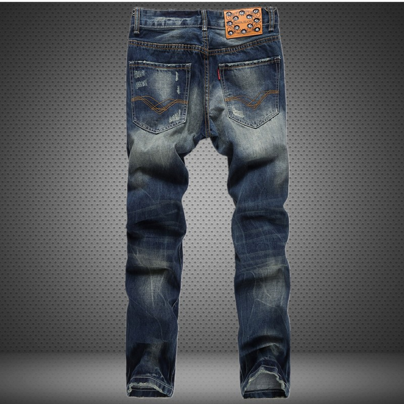 Leisure Jeans Men Fashion Retro Brand Straight Legged Long Trousers Casual Frazzle Cotton Men Jeans Classical