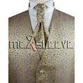 Mens Suit Tuxedo Dress gold floral bridegroom Vest (vest+ascot tie+cufflinks+handkerchief)