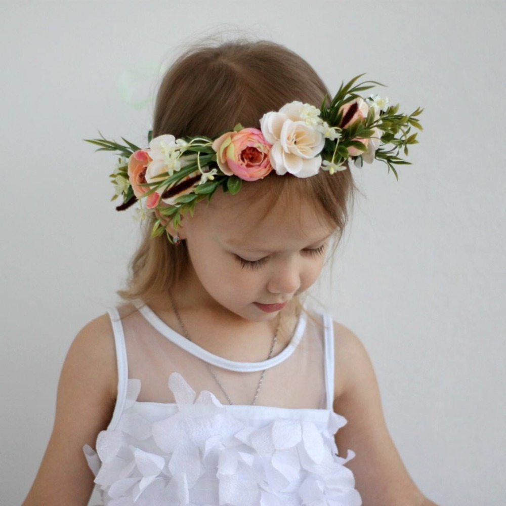 CXADDITIONS Ladies Kid Adjustable Flower Crown Beach Wedding Flower Headbands Flower Wreath Hairband Women Garland Halo   Headwear