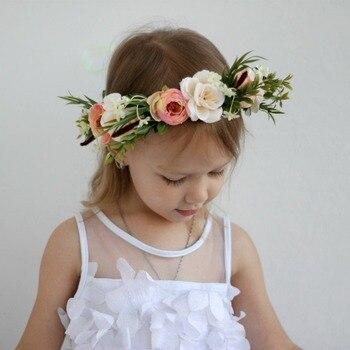 CXADDITIONS Panie Kid Regulowany Kwiat Korony Ślubne Plaża Kwiat Opaski Kwiat Wieniec Hairband Kobiety Garland Halo Nakrycia Głowy