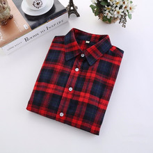 5XL Plus Size Plaid Shirt Women 2018 Autumn Korean Style New Fashion Long Sleeve Shirt Women Casual Cotton Flannel Blouses Tops
