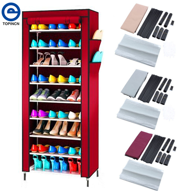 Awesome Large Capacity Shoe Rack Shoes Cabinet Canvas Fabric Standing Storage Rack  W/ Zipper Prevent Dust
