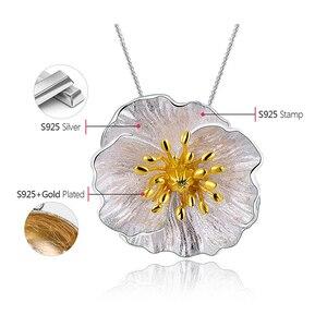 Image 5 - Lotus zabawy prawdziwe 925 Sterling Silver Handmade Fine Jewelry 18K złota kwitnące maki wisiorek kwiat bez naszyjnik dla kobiet