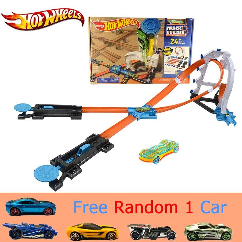 Hot Wheels 4 в 1 спортивный костюм автомобиль игрушки Новый Дизайн Многофункциональный подарочной коробке Hotwheels трек модель автомобиля DLF28 для ро...