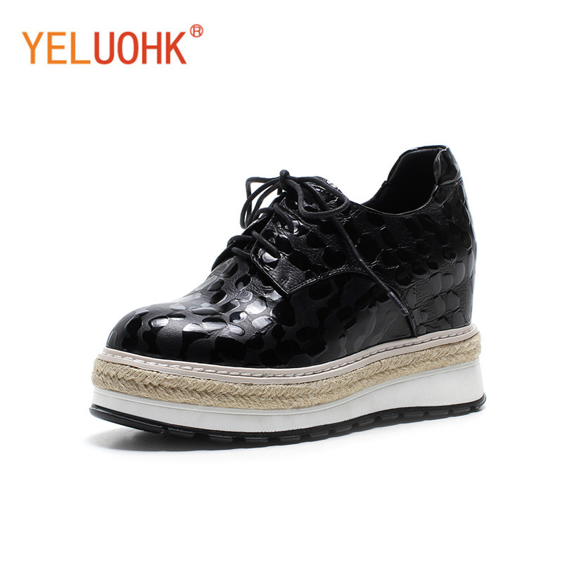 Patent Leather Platform Shoes Heel Women High Quality High Heels Wedges Shoes Black