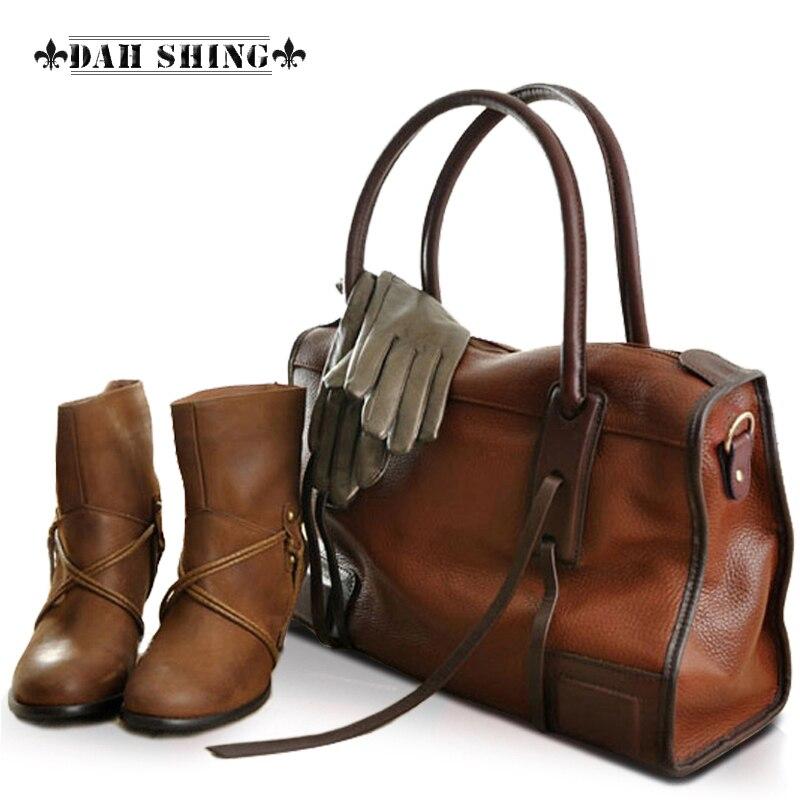 Vintage style 3 colors top cowhide 100% Genuine leather women handbags Tote messenger bags multiple function travel bags
