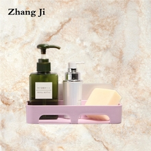 ZhangJi Kitchen Tools Bathroom Accessories Suction Soap Dish  Holder Storage Basket Box Stand