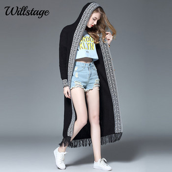 Black Long Cardigans Women Sweater