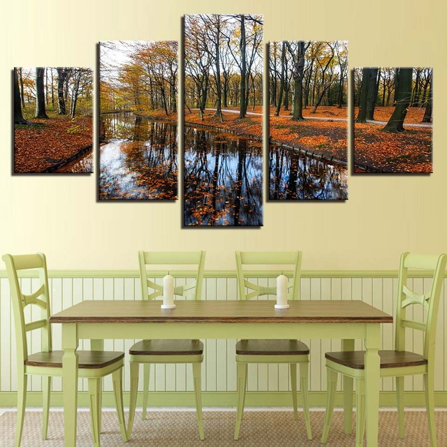 HD Canvas Wall Art Home Decor Poster 5 Panel Forest Tree Landscape ...