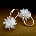 Rose/White Gold Plated 100% Austria Crystal Flower Design Drop Earrings For Women Fashion Party Jewelry Boucle D'oreille Fem