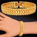 U7 Trendy New Bracelet Men Jewelry 19CM Black Gun/Yellow Gold Plated Mens Bracelets Bangles Wholesale H4500