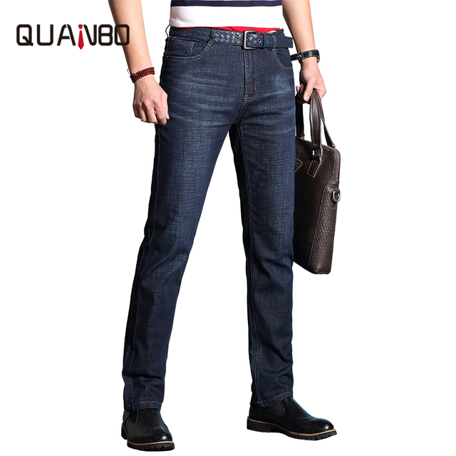 8902fb61df7 QUANBO 2019 New Summer Men s Jeans Stretch Thin Light Businss Casual Jeans  High Quality Cotton Loose Straight Black Jeans 40