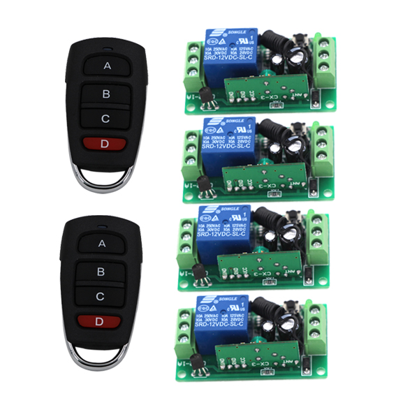 High Quality Radio Remote Control Switch 4Receiver&2Transmitter Mini Smart Home Automatic 315/433MHZ aluminium alloy material made home automatic window opener receiver remote control are included