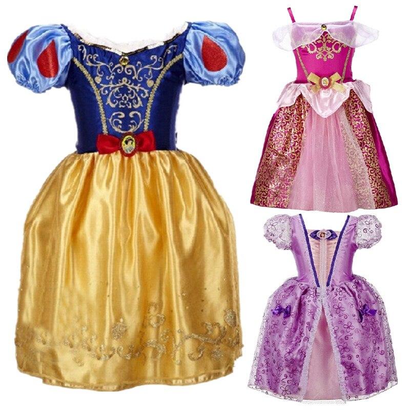 Filles d'été Robe Princesse Cendrillon Neige Blanc Robes Pour Filles Rapunzel Aurora Enfants Cosplay Costume Enfants Vêtements