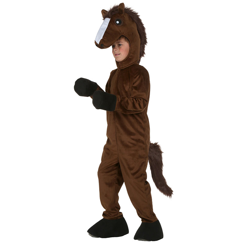 Child Horse Cosplay Costumes Cartoon Brown Pony Animal Halloween Clothes