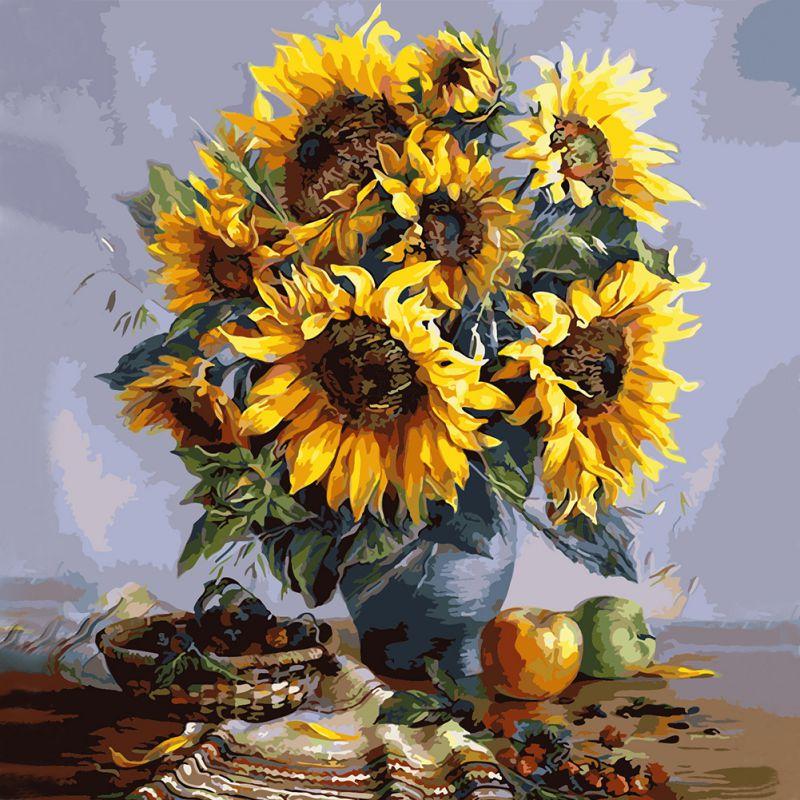 Buy diy oil painting flower printting for Diy flower canvas wall art
