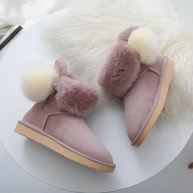 ce9965438 MIYAGINA/новые зимние сапоги из натуральной овечьей кожи с натуральным мехом  Botas Mujer, зимняя