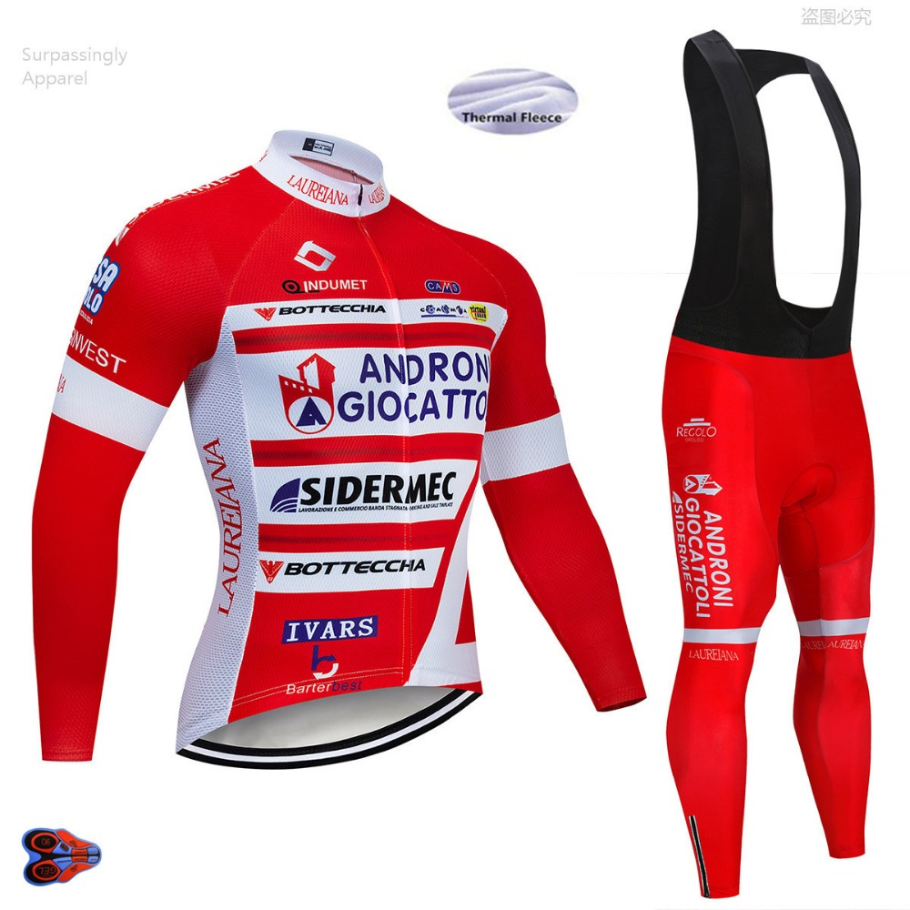 Pro UCI Team Red Andro Cycling Jersey Winter Bicycle Clothing Bike Clothes Long Sleeve Jersey Mountain Bike Jersey Sets 9D Gel-in Cycling Sets from Sports & Entertainment    1