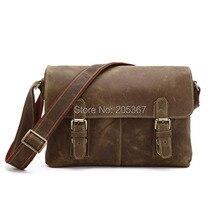 Crazy Horse Leather Men's Brown Shoulder Men's Messenger Bag Crossbody #6002B