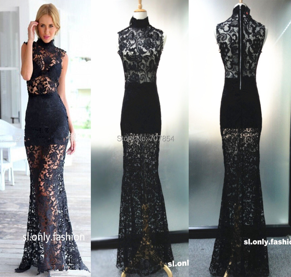 Celebrity Inspired Black Sleeveless Mermaid Floral Lace See Through