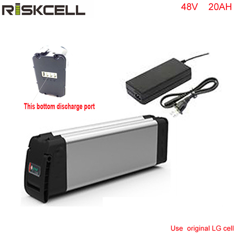 Bottom discharge silver fish battery 48V 20ah 1000W ebike lithium ion battery with aluminium case+charger with Use LG 18650 cell bottom discharge 48 volt 750w bafang electric bike battery 48v 8ah lithium ion battery pack silver fish akku with usb port