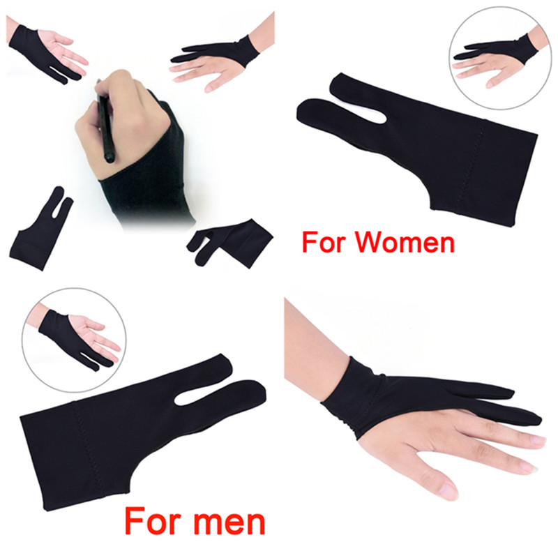 Artist Drawing Glove For Any Graphics Drawing Tablet 2 Finger Anti-fouling Both For Right And Left Hand Black