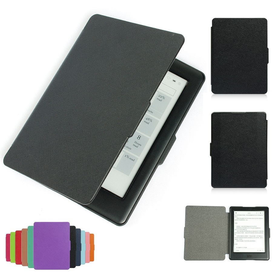 Solque Slim eBook Case For Kobo Glo HD PU Leather Magnet Flip Hard Shell Cover Cross