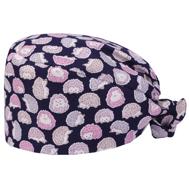 Hedgehog Print Scrub Surgical Caps Hat For Women And Men Nursing Medical Cap Doctor 100% Cotton Skull Tieback Hats Pet Hat