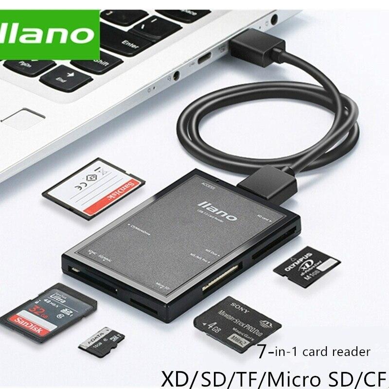 Lecteur de carte à puce USB 3.0 llano 7 en 1 lecteur de carte mémoire Multi Flash pour carte TF/SD/MS/CF 4 lecture de carte sd/Micro SD/usb