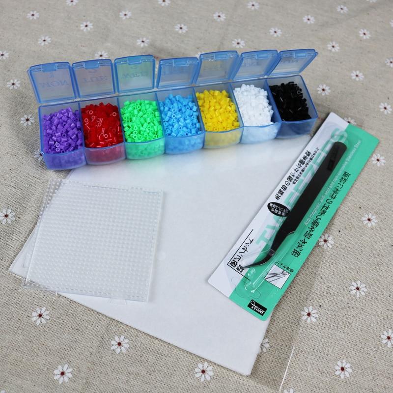 2.6mm 7colors/set / 4200pcs perler hama beads education kid diy toy tweezer fuse iron paper kit craft pegboard PUPUKOU